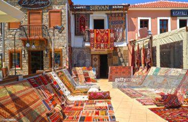 View of Turkish carpet and rug store in Marmaris Netsel Marina in Turkey.